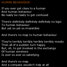 A most incomprehensible human, Bjork, on Human Behavior